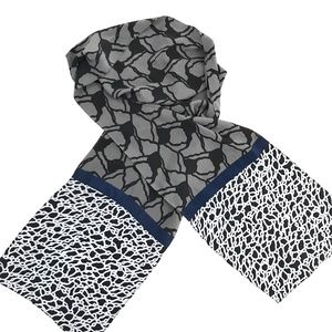Kavita 100% Silk Scarf Gray/Black/White/Navy